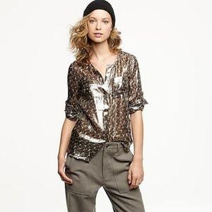 J Crew Silk Camp Shirt in Leopard Lame